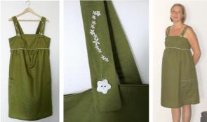 Syprojekt 97 Mammaklänning i grön bomull, skön att ha när sista delen av graviditeten är på sommaren.