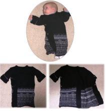 Syprojekt 103 Jag hade en favoritullcardigan från Indiska som jag råkade tvätta för varmt så den blev mer eller mindre tovad. Blev en bra lång tröja att svepa in en nyfödd i!