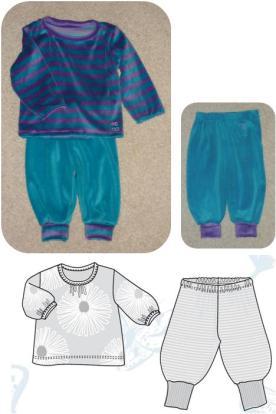 Syprojekt 132. 133 o 134Blandade barnkläder i velour från Stoff og Stil. Mönster från Ottobre.