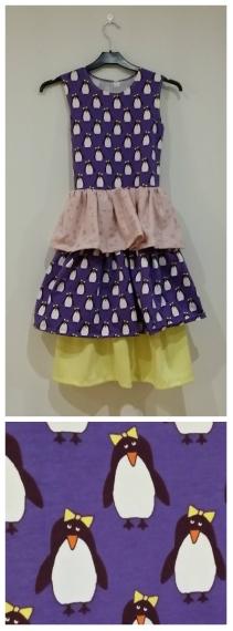 Syprojekt 239 Improviserad klänning med otroligt gulligt (impulsköpt) pingvinmönster. Bas är Ottobres generella T-shirtmönster från Creative Workshop. Tyger från Stoff og Stil.