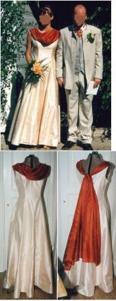 Syprojekt 47 Tyget är lätt cremefärgat siden och sjalen tunt flygigt rostfärgat fladder.