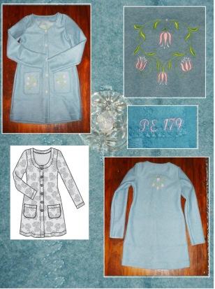 Syprojekt 179 Tröja i ull med broderier på rygg och fickor. Tyg från Stoff og Stil, mönster från Ottobre