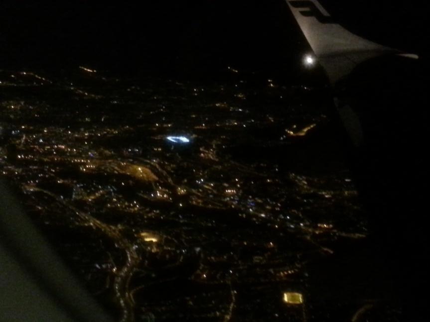 Alltid skönt att komma hem. Ullevål stadion skymtar neonupplyst i mitten.