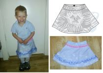 Syprojekt 194, Garden Flower kjol av mönster från Ottobre, en gammal gardin och lite band. Fodrad med acetat, givetvis!