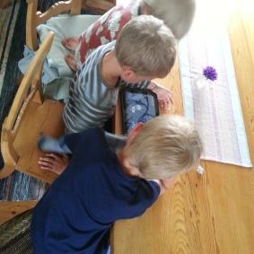 Barn som kollar på film och spelar Angry Birds....