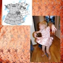 Syprojekt 199, Prinsessklänning med mönster från Ottobre, till en riktigt lycklig liten kille. Provade och dansade en stund och sprang sen ut och spelade fotboll med den. Den höll för det också.