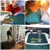 Syprojekt 205, Fionaklänning. Skönt avbrott från alla Rapunzlar och Törnrosor är den här Träsktrollsprinsesseklänningen. Grön plysch, guldtråd som syddes i rutnät för att få det riktiga stuket.