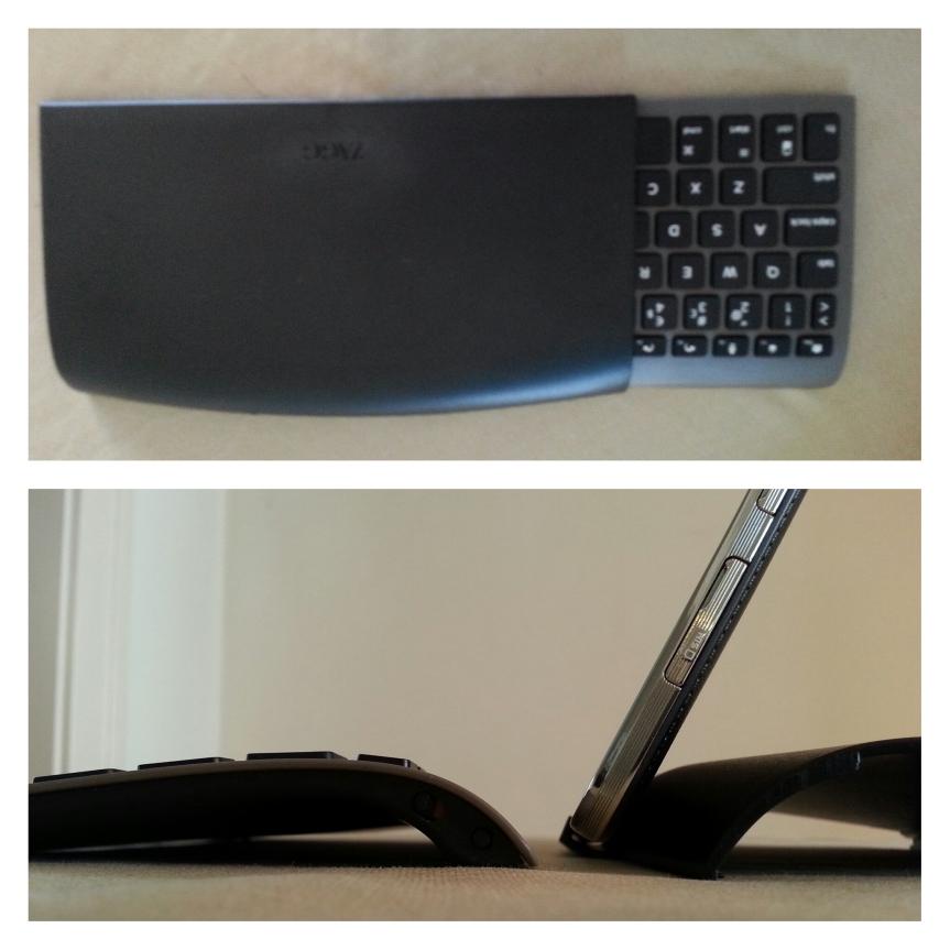Zagg Universal sticks in i det skyddande fodralet när man inte använder den, laddas enkelt med vanlig micro-USB (samma som Note'n) och batteriet håller en mindre evighet.  Bilden under visar hur det ser ut från sidan. Slankt och enkelt, lätt böjt tangentbord.