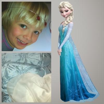 Utgångsläget: Elsa från filmen Frost, ljusblått tyg och ett entusiastiskt barn.
