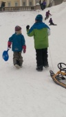 Hannes och Kristian på väg mot dagens hundrade åk. Minst.