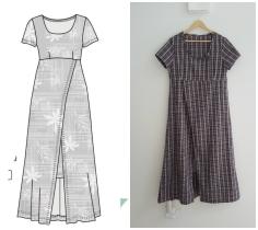 Syprojekt 317 Rutig klänning i omlott. En nitlott; blev skitful. Synd, för tyget är jättemjukt och mysigt.