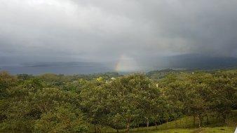 Regn och regnbåge över Arenal-sjön