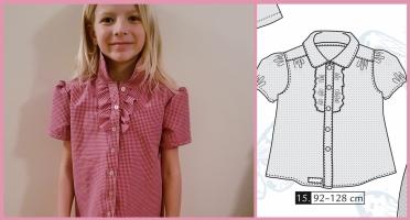 Syprojekt 325 Skjortblus i ett kanske lite för styvt men gulligt smårutigt tyg köpt på Myrins tyger i Kungsbacka. Mönstret är från Ottobre nr 1-2010
